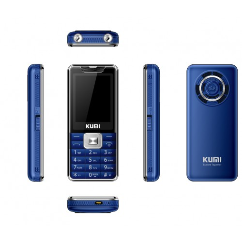KUMI MI 1 UNLOCKED FEATURE MOBILE PHONE WITH INFRARED THERMOMETER SENIOR KIDS BIG KEYS CELLPHONE BLUETOOTH BLUE