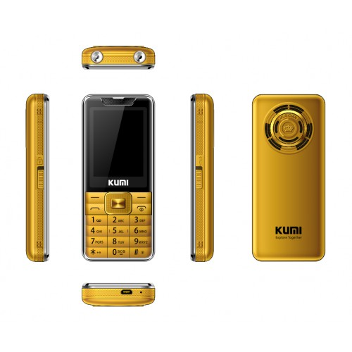KUMI MI 1 UNLOCKED FEATURE MOBILE PHONE WITH INFRARED THERMOMETER SENIOR KIDS BIG KEYS CELLPHONE BLUETOOTH GOLD